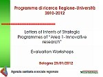 "Letters of Intents of Strategic Programmes of ""Area 1- Innovative research"" [2012]"